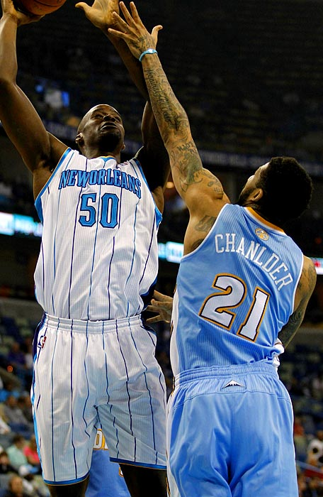 """The Nuggets forward took the court with the """"L"""" and """"D"""" in Chandler swapped on his jersey on March 14, 2011."""