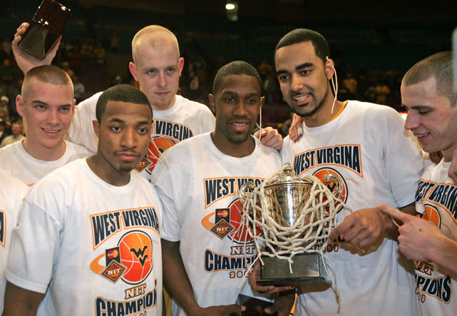 After winning the 2007 National Invitational Tournament, the Mountaineers were congratulated with West V-I-R-G-I-N-A shirts. Awkward.
