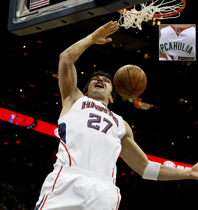 """As if playing only 13 minutes a game with the Hawks wasn't bad enough, Zaza Pachulia had the """"C"""" placed in front of the """"A"""" on his jersey for a home game against the Bobcats on March 19, 2010."""