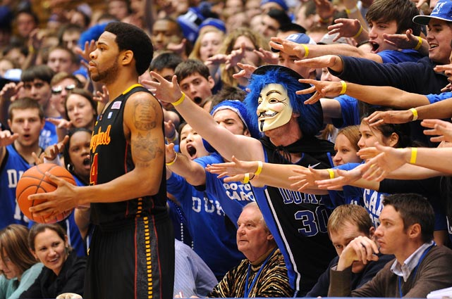 Cameron Crazies try to distract Maryland guard Sean Mosley during a game between the Terrapins and Duke on Jan. 9 at Cameron Indoor Stadium in Durham, N.C. Duke won 74-61.