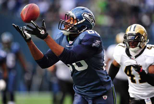 Cameron Morrah of the Seahawks goes for the catch during the game against the Saints on January 9th at Qwest Field in Seattle. The Seahawks beat the Saints 41-36.