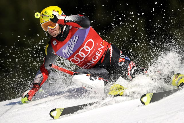Croatia's Ivica Kostelic clears a gate during the second run of the FIS Alpine Skiing World Cup slalom on Jan. 16, in Wengen. He went on to win the event.