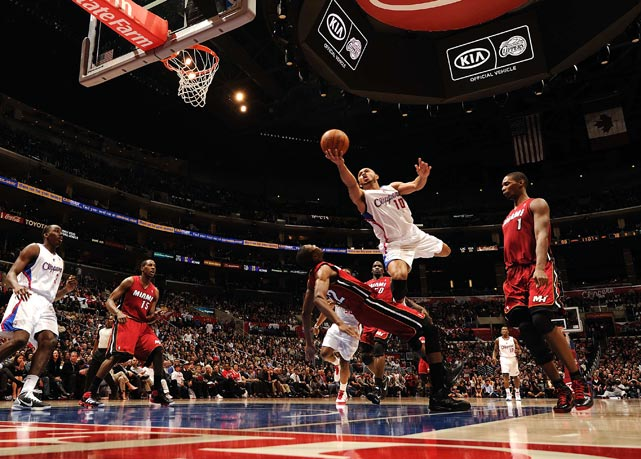 Eric Gordon of the Los Angeles Clippers shoots during a 111-105 win over the Miami Heat on Jan. 12, at the Staples Center in Los Angeles.