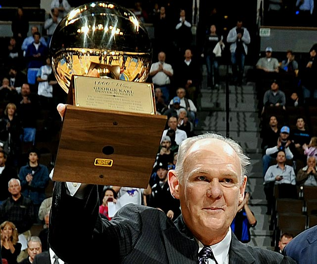With the Nuggets' 123-116 win over the Raptors on Dec. 10, Karl became the seventh NBA coach to reach the four-digit plateau. His feat was even more amazing given that he missed the latter part of the 2009-10 season to undergo treatment for cancer, his second battle with the disease.