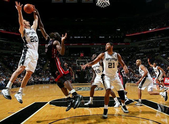 The Spurs embraced a new (for them, anyway) up-tempo style of play to jump to the top of the standings -- a spot they have yet to relinquish, thanks to in good part to their backcourt of Manu Ginobili and Tony Parker. San Antonio took only four losses by New Year's and hit the midway point on pace for 70 victories. Tim Duncan, whose minutes were reduced this season, became the franchise's all-time leader in points and games played, surpassing David Robinson's previous records of 20,790 career points and 987 games.