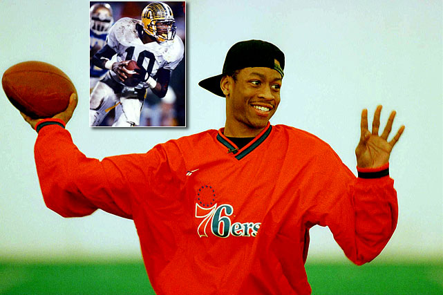 Before many NBA players tore it up on the gridiron before they became pros on the hardcourt. One of the most notable, of course, was Allen Iverson. The 14-year NBA veteran who won the 2001 MVP award and claimed four scoring titles was a highlight machine on the gridiron in high school. He led both the football and basketball teams at Bethel (Va.) High School to state titles before heading to Georgetown for hoops. If you haven't seen the YouTube highlights of Iverson as QB at Bethel, please do so.