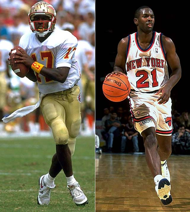 Gee, where do we start? He won the 1993 Heisman Trophy and Davey O'Brien Award as a quarterback at Florida State. He also led FSU to its first national championship, in the '93 Orange Bowl. He was also a four-year player in basketball at Florida State and holds school records for career steals (236) and single-game steals (nine) and ranks sixth all time in assists (396). Since he wasn't taken in the first round of the NFL draft, he decided to pursue the NBA and was selected 26th overall by the Knicks in 1994. He played for three teams as point guard before hanging up his high-tops in 2005.