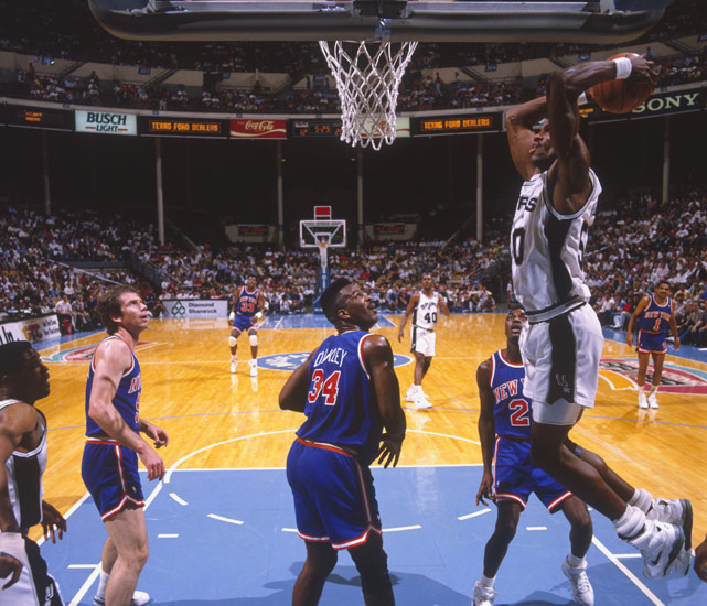 The Spurs had to wait two years for Robinson to finish up his Naval commitment, but the big man was well worth the wait. The Admiral averaged 24.3 points, 12 rebounds and 3.9 blocks his rookie season, unanimously winning the league's Rookie of the Year award. He also helped the Spurs go from a 21-61 record the year before to a 56-26 mark his rookie year.