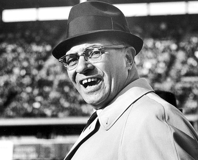 Vince Lombardi patrolled the Green Bay sidelines for nine seasons, leading the Packers to a 9-1 playoff record, three NFL championships and two Super Bowl wins.