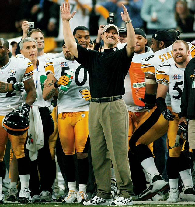 On the brink of being doused with the ceremonial Gatorade shower, Bill Cowher celebrates a 21-10 win over the Seattle Seahawks in Super Bowl XL. Cowher retired one year later.