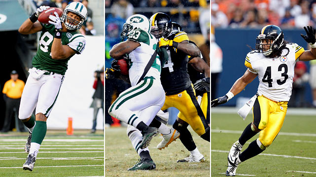 The between-the-hashes offensive attack of the Jets should be huge. In their regular-season loss to the Jets, the deep middle of the field was exploited by Mark Sanchez. But of course, Polamalu did not play because of injury. With Polamalu and inside linebacker Lawrence Timmons so keyed on the powerful Jets inside running game, make no mistake Jets tight end Dustin Keller will be integral either crossing behind linebackers or trying to split the safeties and catch one out of position. Keller was held to just 15 yards against the Patriots and couldn't get going in the first meeting with the Steelers, either. He'll be targeted this time, for certain.