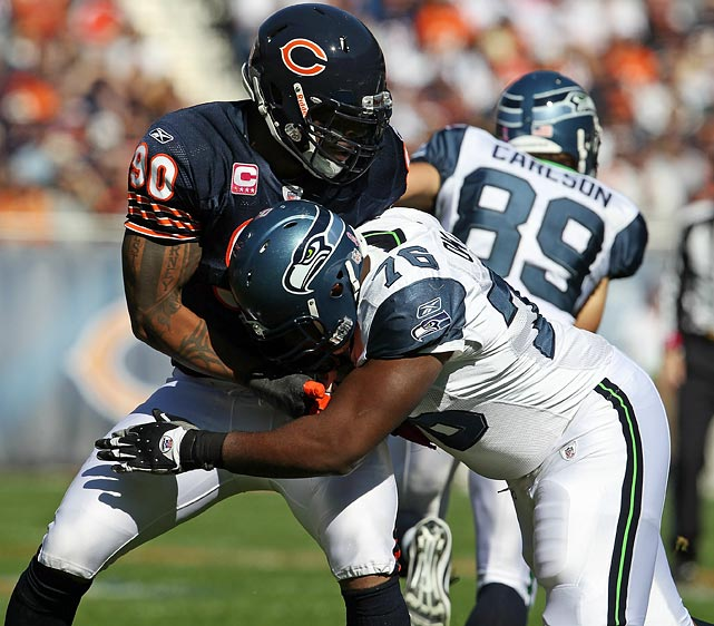 Julius Peppers has been every bit the player and emotional leader the Bears hoped to see when they brought him in for a King's Ransom in the offseason. Except for one glaring exception. Seahawks rookie Russell Okung handled Peppers with relative ease in Seattle's 23-20 win in October, limiting Peppers to just one tackle and zero sacks. The Bears could not muster a single sack or takeaway in that game, leading to Hasselbeck being comfortable enough to throw 40 times. With great accuracy and a keen ability to check-off to shorter pass routes, Hasselbeck could cut the Bears apart again if Peppers cannot lead a better pass-rushing assault.
