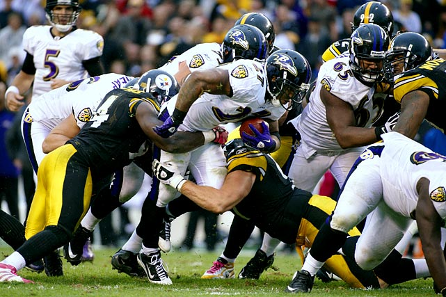 Almost everything the Ravens manage offensively will depend on the success Ray Rice -- and to a lesser degree Willis McGahee -- has against one of the greatest rush defenses in the history of football. The good news is Rice is the only running back in the last 50 games to rush for more than 100 yards against the Steelers. The bad news is that was more than a year ago, and 49 other times the Steelers have put up a brick wall, including the last meeting when Rice gained just 32 yards. The Steelers have allowed fewer than 60 yards rushing to opposing teams seven times.