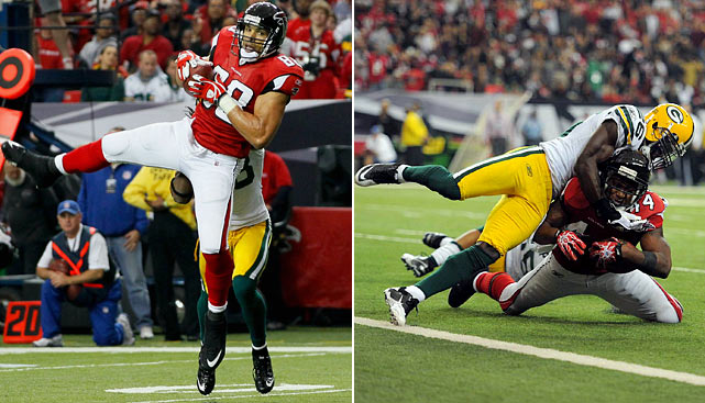As much as they'll try to pound the ball with Michael Turner and lean on the Matt Ryan to Roddy White big-play connection, Atlanta knows the key to it all could be Tony Gonzalez. He's not the same player he once was. But in these teams' first meeting, Gonzalez exposed a big flaw in Dom Capers' defensive attack --  exploiting linebacker A.J. Hawk when he came out of the backfield and burning safety Charlie Peprah in the middle of the secondary. Don't be surprised to see Packers safety Charles Woodson try covering Gonzalez, but that could lead the Pack susceptible elsewhere.