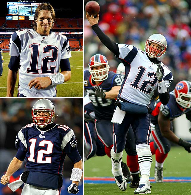 What hasn't Brady done this season?  He led the Patriots to a stellar 14-2 record despite losing his top weapon in Randy Moss, and the Pats enter the playoffs as the AFC's No. 1 seed and the clear favorites for the Lombardi Trophy.  Along the way, Brady capped off his stellar season with several milestones: In Week 4 (top left) he became the fastest quarterback of the Super Bowl era to reach 100 wins; In Week 13 (bottom left) he set the record for consecutive home wins with 26; and in Week 16 (right) Brady set the mark for consecutive pass attempts (319) without an interception.  But Brady wasn't the only player to have a landmark season.  Here are some others who also had record-breaking moments.