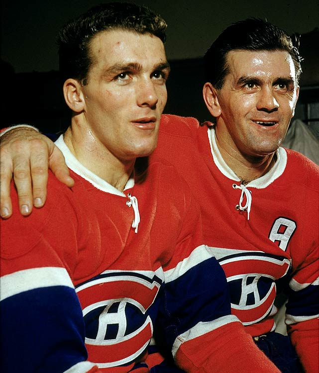 "Hockey's greatest brother duo teamed up to help the Habs win a record five consecutive Stanley Cups. Maurice, otherwise known as ""Rocket"", was renowned for his wild-eyed intensity and prolific goal-scoring. The smaller Henri (hence his nickname ""Pocket Rocket"") was a slick playmaker and considered the more complete player. After Rocket's retirement in 1960, Henri went on to win another six Cups, for a record total of 11."