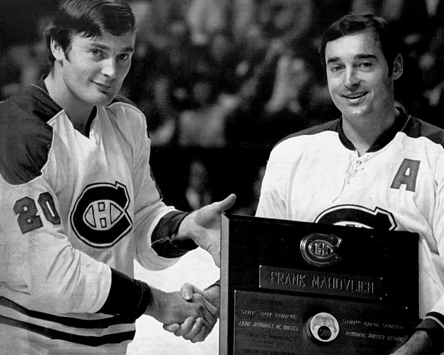"Reunited after parts of two seasons in Detroit (1967-69), the Mahovlich brothers were major contributors to two of Montreal's Stanley Cup championship teams. Frank, a power forward nicknamed ""The Big M"", was the bigger star (and a Hall of Famer) who'd won four Cups in Toronto, but he was physically smaller than Pete, who was inspired by his older brother's arrival to score a then-career best 35 goals en route to the 1971 Cup."