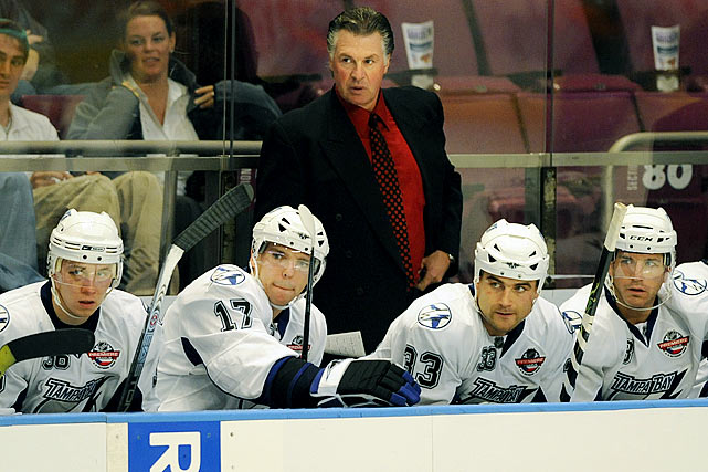 After 12 years as an NHL commentator for ESPN, the former coach of the Los Angeles Kings (1992-95) was hired as bench boss of the Tampa Bay Lightning in June 2008 by new owners Oren Koules and Len Barrie. Alas, his tenure lasted a tumultuous 16 games before he was handed a pink slip when his team started with a 5-7-4 record as heralded rookie Steven Stamkos struggled. (Melrose thought Stamkos wasn't ready for the NHL.)