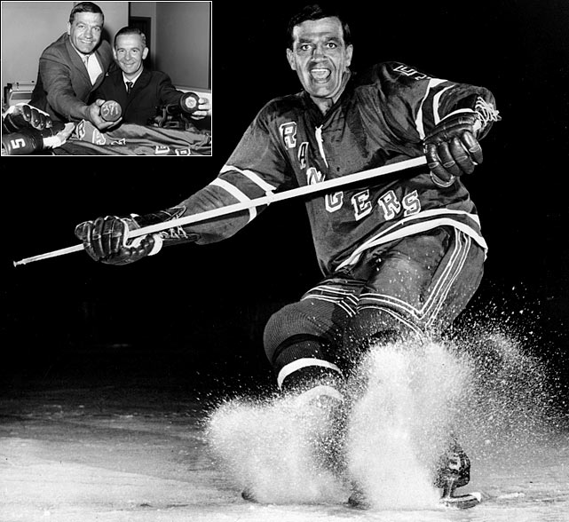 "The great ""Boom Boom"" who rose to fame with the Canadiens in the 1950s and early 60s, hung up his skates in 1964 and coached Quebec's AHL team before deciding to return to the NHL with the Rangers in 1966, at 35. He played two seasons on Broadway, producing 42 and 21 points. Retiring as a player again, the Hall of Famer became the first coach of the expansion Atlanta Flames in 1972 and held the job for parts of three seasons."