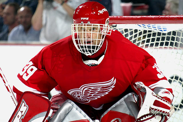 After winning the first Stanley Cup of his storied, 12-year NHL career, the six-time Vezina Trophy-winner retired and sat out the 2002-03 season. He returned to the Red Wings in 2003-04 at 38, but his season was limited to only 14 games by a groin injury. After the 2004-05 lockout, he signed with the Ottawa Senators, ultimately going back to Detroit for another Stanley Cup season in 2006-07, although he was supplanted by Chris Osgood as the Wings' starting goalie in the playoffs.