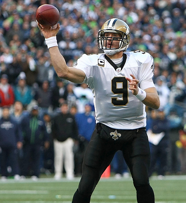 With his entire rushing corps felled by injury, Drew Brees had no choice but to attempt 60 passes against the Seahawks. In all, Brees completed 39 balls for 404 yards and two touchdowns.