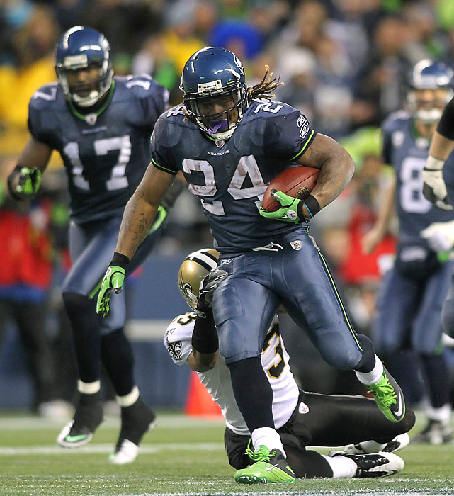 Marshawn Lynch anchored the Seahawks' running game with 131 yards on 19 carries -- including a game-clinching 67-yard scoring jaunt in the fourth quarter that may have been one of the best rushing TDs in NFL playoff history.