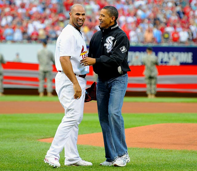 Pujols greets Barack Obama after the president threw out the first pitch before the 2009 All-Star Game at Busch Stadium.