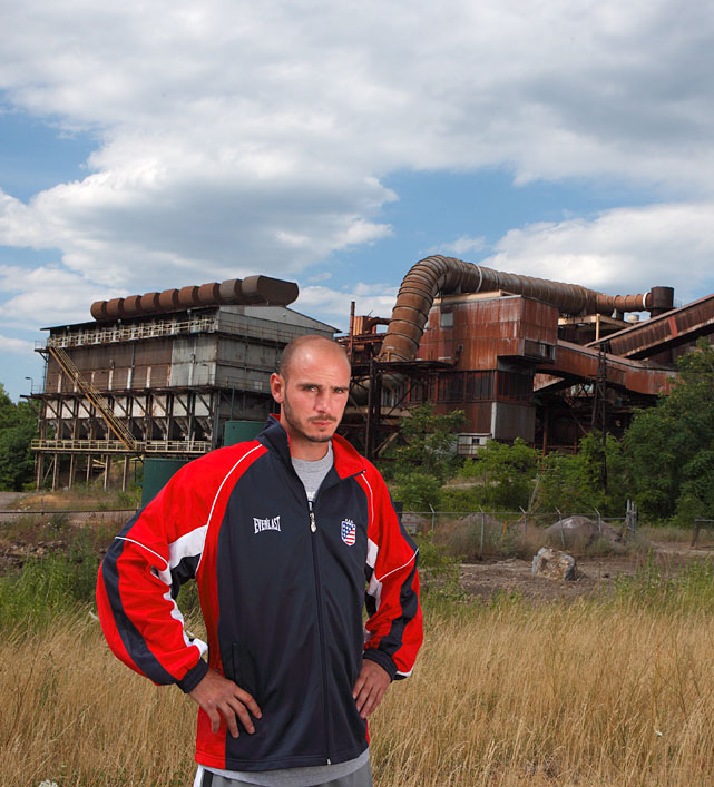 Pavlik, an everyman who's emerged as something of a rust-belt folk hero, poses in front of the abandoned Brier Hillworks Steel Mill.