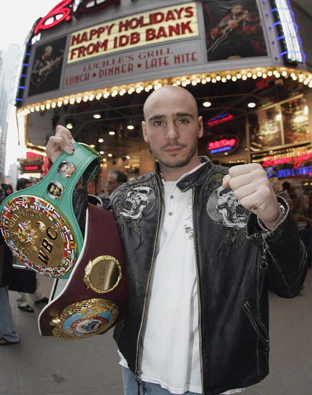 Pavlik poses for photographers at the Times Square press conference to announce his rematch with Taylor.