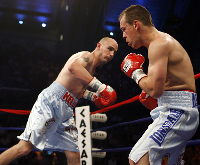 Lockett stumbles after being hit by Pavlik in the first round of their fight at Boardwalk Hall.