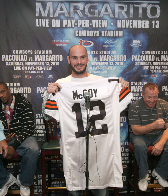Pavlik holds up at Cleveland Browns jersey during a press luncheon at the New York Friars' Club to announce his fight against Brian Vera on the Manny Pacquiao-Antonio Margarito undercard. He'd later withdraw from the fight due to a rib injury suffered while training.