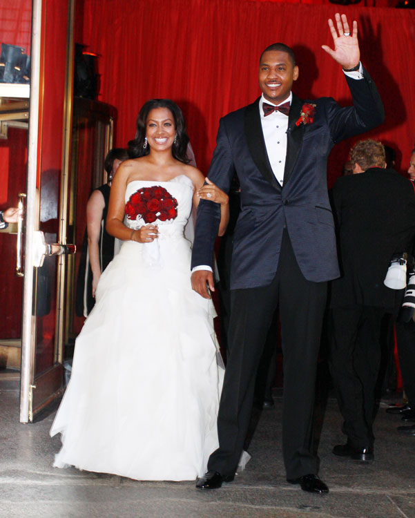 Carmelo looks dapper for his wedding with MTV VJ La La Vasquez at Cipriani 42nd Street in New York.