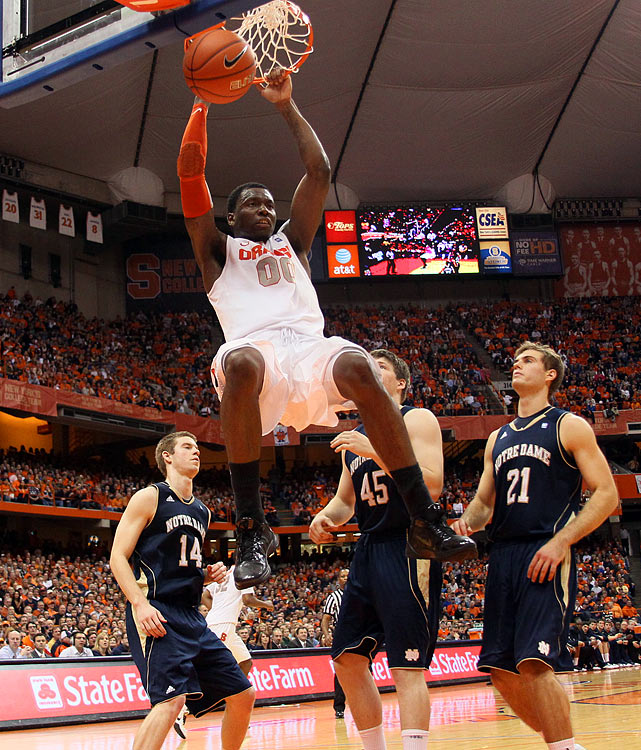 Strengths:  Much-improved big man who lost a considerable amount of weight this past summer. Now ranks as one of the best rebounders in college basketball. Has good size and an NBA-ready frame. Very effective in a garbage man-type role with the new-found energy he brings.     Needs Work:  Not a particularly gifted scorer. Shoots just 49 percent from the free-throw line. Possesses very little ability to step outside the paint. Slightly undersized -- he's essentially a center in a power forward's body. Question marks linger about his defensive potential playing in Syracuse's 2-3 zone.