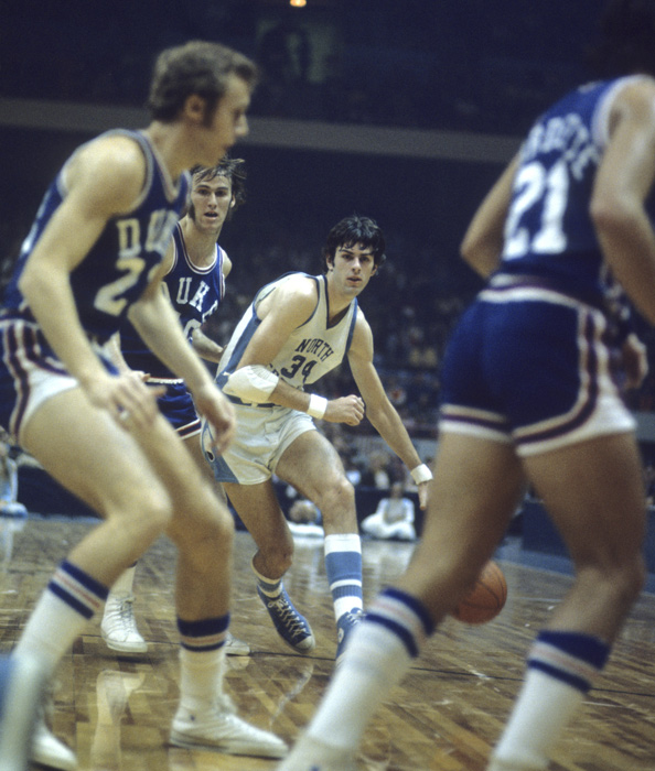Bobby Jones drives to the hoop. The Charlotte player was recruited by Dean Smith and averaged 16 ppg his senior season before being drafted by the Houston Rockets with the fifth overall pick.