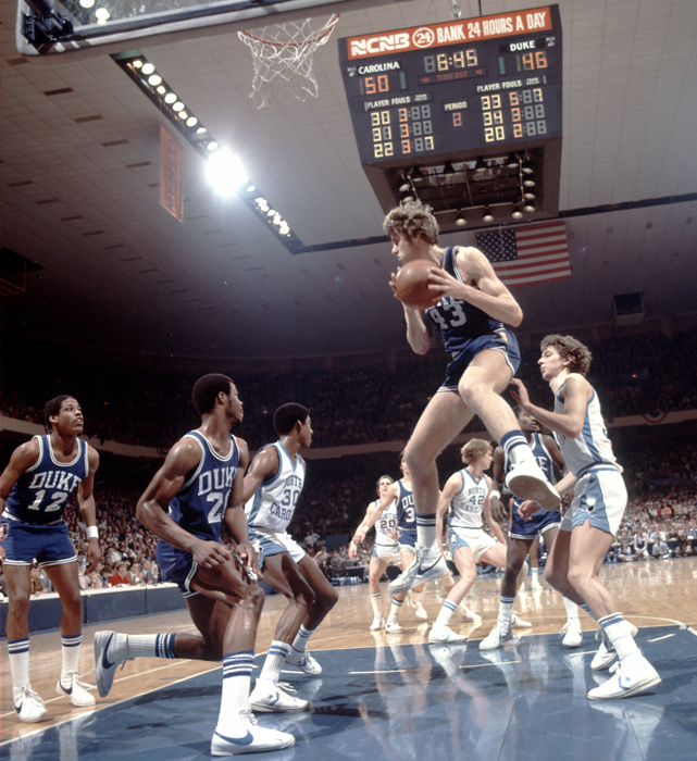 Mike Gminski had one of the most successful careers in Duke basketball history, making three first team All-ACC teams (1978, 79, 80) and winning the ACC Player of the Year in 1979. His No. 43 is currently hanging in the rafters of Cameron Indoor Stadium.
