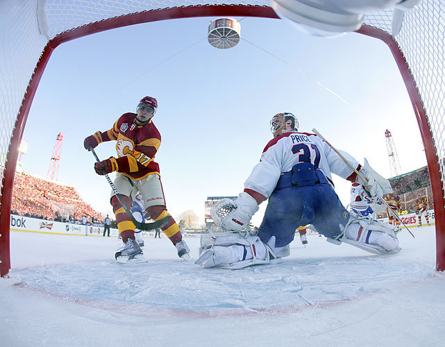 Rene Bourque scores the game's first goal during the first period. Bourque scored twice on Habs goalie Carey Price.
