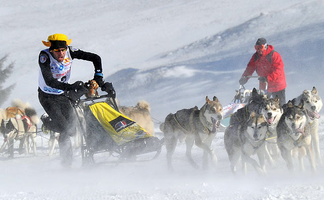 France's Pascal Gerrard guides his Siberian Husky dogs through the 11k long track on the second day of the Dog Sleigh World Championships in Slovakia's Donovaly resort on Feb. 12.