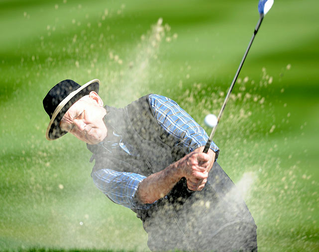 "Actor Bill Murray plays out of the bunker during the 3M Celebrity Challenge at the AT&T Pebble Beach National Pro-Am on Feb. 9. Former ""Caddyshack"" star Murray and golfer D.A. Points won the tournament."