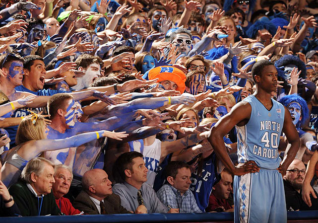 North Carolina forward Harrison Barnes does his best to ignore the taunting Duke Cameron Crazies on Feb. 9. Barnes may have turned his back on the Duke fans but his 20th-ranked Tar Heels fell to No. 5 Duke 79-73.