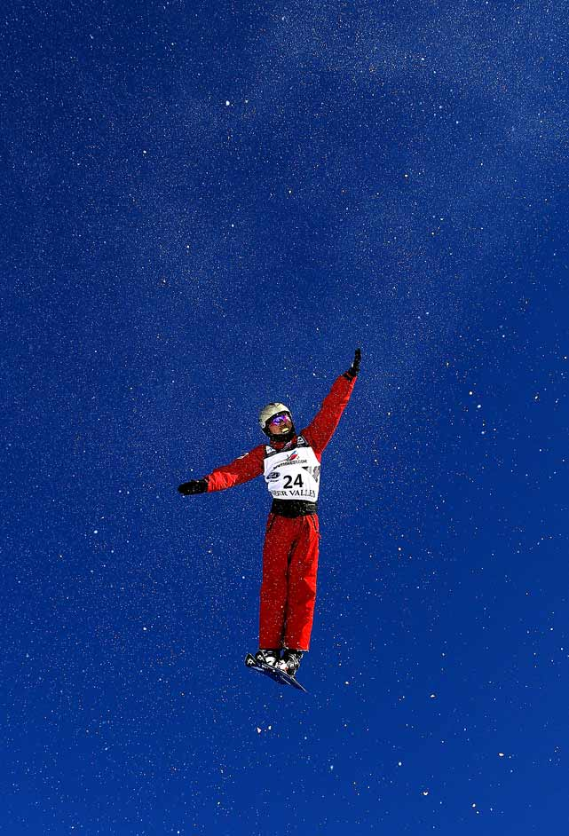 Hang Zhou of China practices for the FIS Freestyle World Ski Championships on Feb. 1 in Park City, Utah.