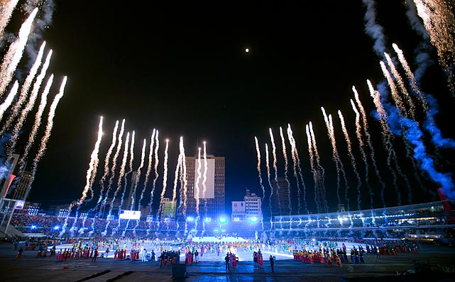 Fireworks light the sky during the opening ceremony of the 2011 ICC Cricket World Cup at the Bangabandhu National Stadium in Dhaka, Bangladesh.  Fourteen national cricket teams will compete in India and Bangladesh between February and early April.
