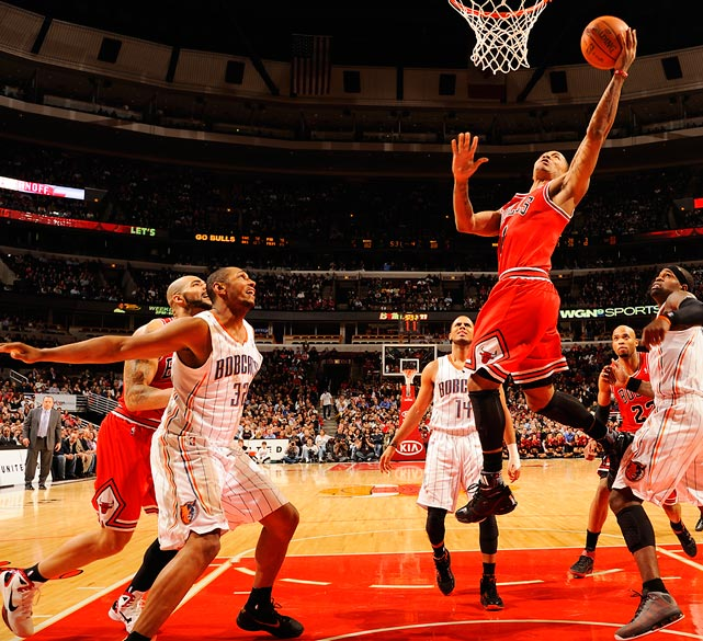 Chicago Bulls point guard Derrick Rose scored 18 points in a 106-94 win over  the Charlotte Bobcats at the United Center in Chicago.