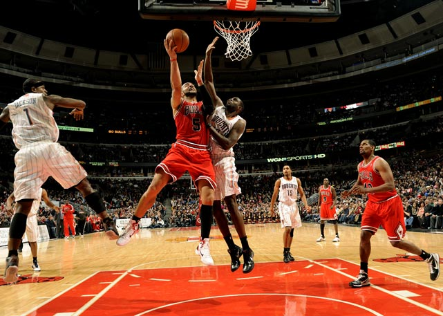 Chicago's Carlos Boozer goes up against the Charlotte Bobcats during a 106-94 home win on Feb. 15 at the United Center.