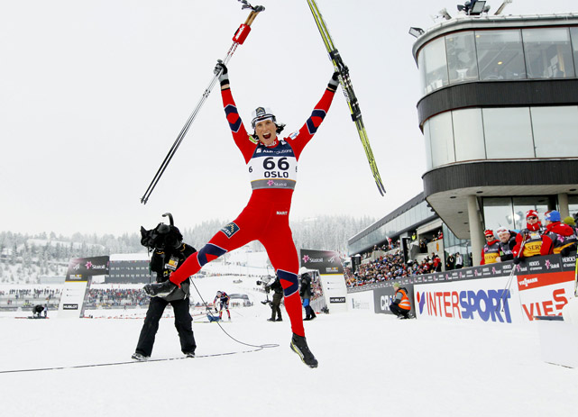 Marit Boergen of Norway celebrates after winning the 10K individual classic event at the Nordic Skiing World Championships on Feb. 28 in Oslo.