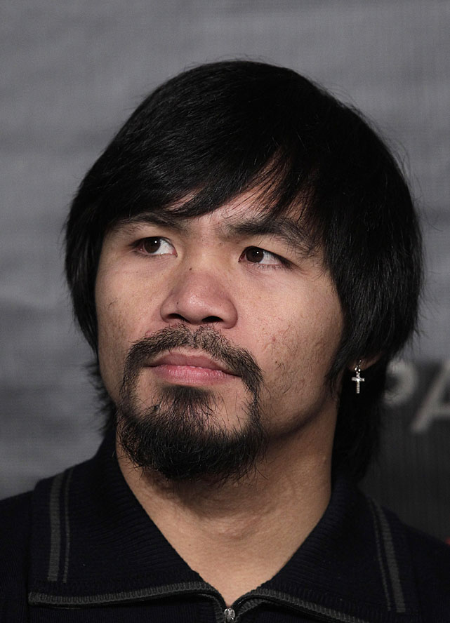 A three-city press tour to promote the May 7 showdown between Manny Pacquiao and Shane Mosley kicked off Thursday at the Beverly Hills Hotel in Los Angeles. And while the fight itself might not be overly buzzworthy -- the 39-year-old Mosley is a 7-to-1 underdog -- Pacquiao's brand new Justin Bieber haircut certainly is.