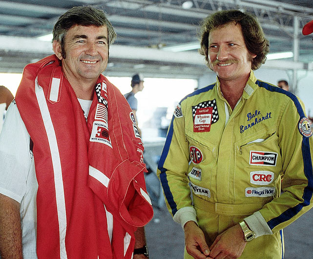 Bobby Allison and Earnhardt share a moment before the Firecracker 400.