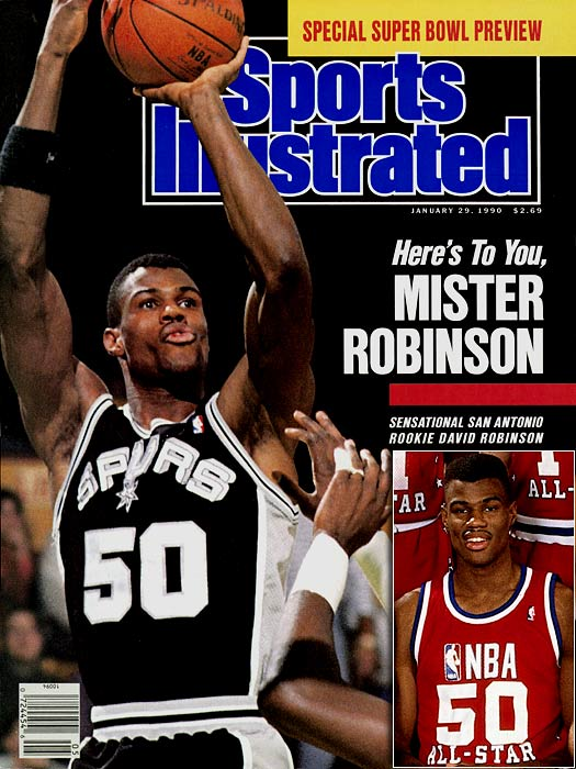 Though Robinson entered the 1987 draft and was selected with top overall pick by San Antonio, the Spurs had to wait two years while the 7-foot-1 center fulfilled his service in the Navy. When he joined the team in 1989, the future Hall of Famer led San Antonio to the then greatest single-season turnaround in league history, from 21-61 to 56-26, and averaged 24.3 points, 12.0 rebounds and 3.9 blocks in his Rookie of the Year campaign. In his first of 10 All-Star games, Robinson posted a double-double (15 points, 10 rebounds) in a 130-113 loss for the West.