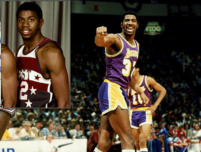 The Lakers' great owns pretty much every basketball trophy and accolade available: an NCAA championship, five NBA titles, three MVPs, three Finals MVPs ,12 All-Star appearances, two All-Star Game MVPs, an Olympic gold medal and a spot in the Hall of Fame. A starter in his first All-Star Game, Johnson -- the league's all-time leader in assists per game (11.2) -- scored 12 points and dished out four assists, though the West lost 144-136 in overtime.