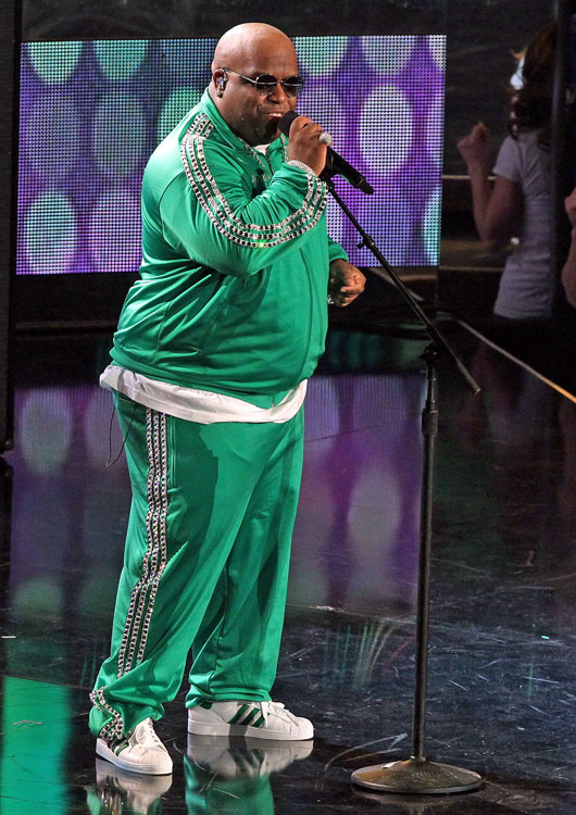 "Donning old-school warmups, Cee Lo Green performed his hit ""Forget You"" (without Gwyneth Paltrow) at All-Star Saturday Night."