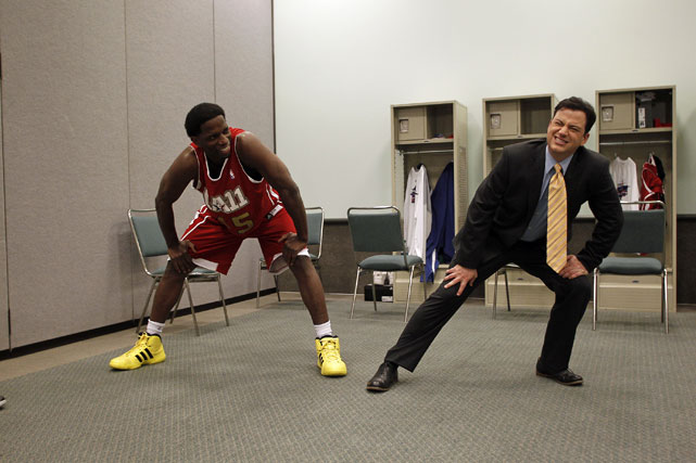 Comedian Jimmy Kimmel helped former NBA player A.C. Green get loose before the celebrity game.